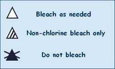 These are the laundry labels for when to use bleach and what type.