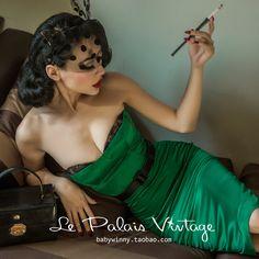 le palais vintage retro elegant and sexy lace corset-style emerald satin skirt
