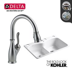 """$780.05 - View the Build Smart Kits K-6626-6U/D9178-DST Combo: Kohler 33"""" Double-Bowl Cast Iron Sink with Delta Leland Pullout Spray Faucet at FaucetDirect.com."""