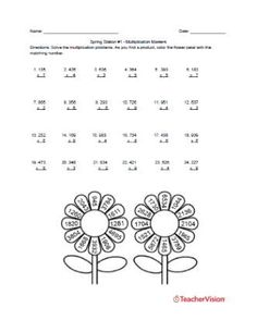 This resource includes 3 Spring-themed math activities designed for use in stations. Students practice addition, multiplication, and shape recognition. Thanksgiving Math Worksheets, Printable Math Worksheets, Printables, Teaching Strategies, Teaching Tips, Teaching Math, Spring Activities, Learning Activities, Math Challenge