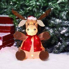 "Holiday Time 22"" Sparkling Burlap Sitting Moose Light Sculpture"