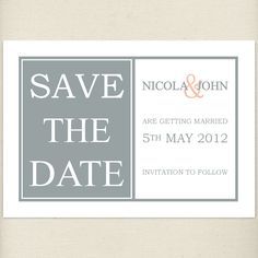 grey peach Save the date card, £1.20, #savethedate