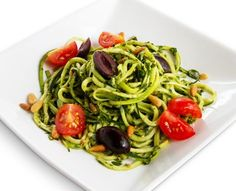 "Meatless Monday: Atkins raw pesto ""pasta,"" from Celebrity Chef Mark Reinfeld. Only 6g Net Carbs"