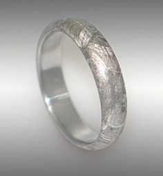 Meteorite wedding band for her <3
