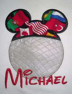 Mickey Mouse Epcot ball applique t shirt  - Personalized in Disney font your choice of colors  boy or girl. $20.00, via Etsy.