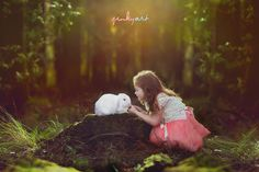 rabbit and girl in magical forest - by jinkyart, awww this photo is soo amazing and magical! Love it!!