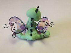 OOAK Polymer clay Baby Dragon on Flourite fairy Garden miniature figurine CDHM