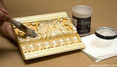 4 Chalk Paint Techniques for Carved Surfaces :: Hometalk USE ROYAL STENCIL CREAM TO HIGHLIGHT IT SEEMS SOFTER LOOKING THAN AS WHITE PAINT