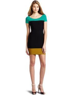 BCBG colorblock dress, ill take it! Combo Dress, Midi Cocktail Dress, Kinds Of Clothes, Bcbgmaxazria Dresses, Colorblock Dress, Dress To Impress, Dress Outfits, Dresses For Work, My Style