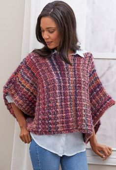 The Boat Neck Easy Poncho Pattern is a great poncho pattern for every day, since its bulky yarn and textured pattern make it look comfy and elegant at the same time. This poncho pattern is made in two panels that are sewn together at the shoulders.