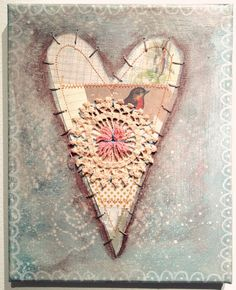vintage valentine collage on canvas