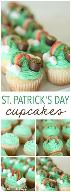 Patrick's Day decorations {free printable flags} - C. Patrick's Day, food and holidays concept - green cupcakes and shamrock on wood . Patricks Day, food and holidays concept - green cupcakes and shamrock Köstliche Desserts, Holiday Desserts, Holiday Baking, Holiday Treats, Holiday Recipes, Delicious Desserts, Holiday Meme, Holiday Cupcakes, Easter Desserts
