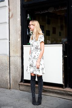 Printed dress + knee high boots