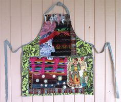 Altered Ikea Apron - VINTAGE FABRIC COLLAGE Wearable Art  -- Frida Kahlo Mexico --Mexican Folk Artist -- Textile Fiber Assemblage // mybonny