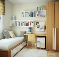 This modern minimalist girl's room combines fresh, pure white with the warmth of natural wood in simple, clean lines.