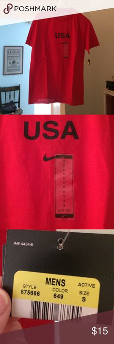 Nike USA tshirt Red Nika tshirt, tags on, never been worn, 100% cotton, size men's small Nike Tops Tees - Short Sleeve