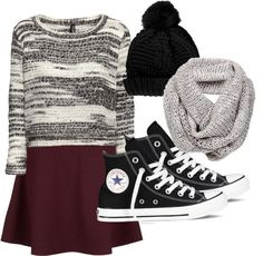 Untitled #120 by yourstrulyemz featuring a hi top  H&M short sweater, $21 / Belted skirt, $24 / Converse hi top / Scarve, $82 / Topshop ... H&m Shorts, Sweater And Shorts, Converse Hi, Boys Closet, Skirt Belt, Sweater Weather, Christmas Sweaters, Fall Outfits, Topshop