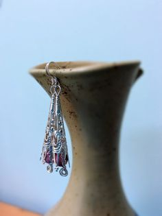 Items similar to Rhodonite Earrings - Long Ornate Earrings with Rhodonite Beads - Sterling Silver Hooks - CreJewellery on Etsy Drop Earrings, Sterling Silver, Beads, Etsy, Jewelry, O Beads, Jewellery Making, Beading, Jewerly