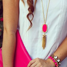 Great pendant necklace -- love the tassel/fringe detail. Don't care for the hot pink color though... not sure if it comes in other colors.