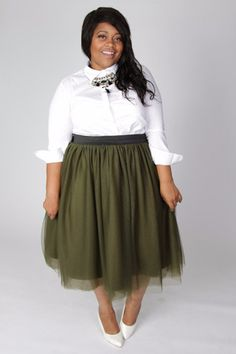 Plus Size Clothing for Women - Society+ Grace Tutu - Olive (Sizes 1X - 6X) - Society+ - Society Plus - Buy Online Now! - 1