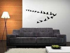 I want this sofa!!  Geese in Flight Vinyl Wall Decal 22227 by CuttinUpCustomDieCut, $35.00
