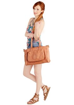 Get the Geolo-gist? Bag. While you head to the geology lab, your eye-catching, sandstone-hued shoulder bag fuses fashionable form and function into your look! #pink #modcloth