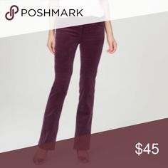 """LOFT Plum Boot Cut Corduroy Pants NWT. Ann Taylor LOFT Curvy Bootcut Corduroys in a gorgeous plum color. Sits lower on the waist. Front zip with button closure. Wide belt loops. 33"""" inseam. Size 26. No modeling/trades. LOFT Pants Boot Cut & Flare"""