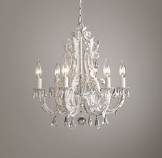 Charmant Palais Small Chandelier Rustic White