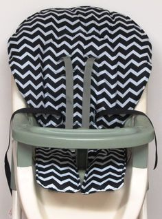 GRACO  high chair cover, pad replacement , black and pale gray  zigzag chevron by sewingsilly on Etsy