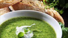 Grønn suppe med fetakrem