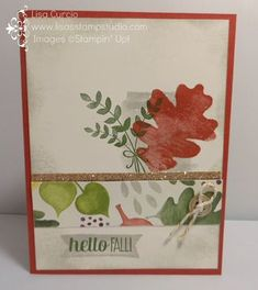 Love the metallic shimmer with the glimmer paper, button and gold Baker's Twine. Change up the greeting and this card has endless possibilities.   Stampin' Up!, For All Things, Champagne Glimmer paper, gold metallic buttons, Color Me Autumn designer paper, craft, scrapbook