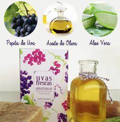 El Jabón Natural y Artesanal Uvas Frescas contiene Aceite de Pepita de Uva, Aceite de Oliva y Pulpa de Aloe Vera, componentes que nos ayudan a conseguir una piel más suave, hidratada y reparada.