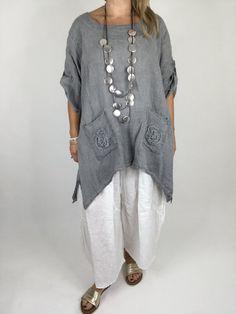 Lagenlook Flower Pocket Linen Tunic Top in Charcoal Grey. Code 006