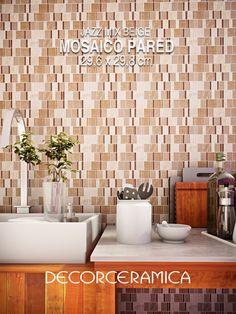 El VIDRIO Y LA PIEDRA, dos materiales, decorativos, atemporales y duraderos, se unen en un MOSAICO que dará nueva vida a tus PAREDES. Inspírate! Conoce más sobre el Mosaico Jazz Mix Beige 29,6 x 29,8 cm.   #Decorceramica #SiempreAlgoNuevo #Mosaicos #Inspiradosenti