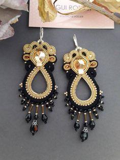 Macrame Earrings Tutorial, Earring Tutorial, Soutache Earrings, Drop Earrings, Beaded Embroidery, Crochet, Belly Button Rings, Etsy, Beads