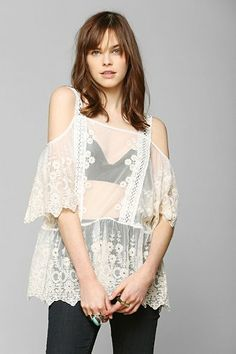 Pins And Needles Embroidered Lace Frock Top