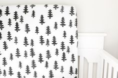 Little Woolf Fitted Crib Sheet in Black Trees, Woodland Nursery, Black and White Nursery, Baby Boy, Baby Girl, Gender Neutral, Forest, Camp