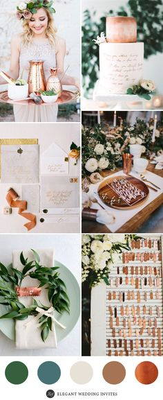 Greenery Weddings with Copper Accented Details