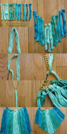 DIY Tassel Necklace using embroidery floss