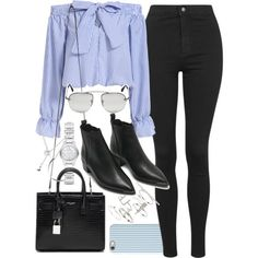 Outfit with black jeans and boots by ferned on Polyvore featuring moda, Topshop, Acne Studios, Yves Saint Laurent, Burberry, Forever 21, Isaac Mizrahi and Prada