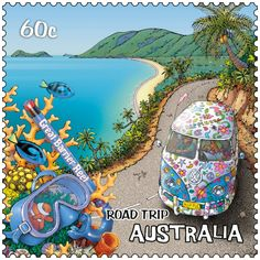 60c postage stamp from Australia - part of a series featuring an Australian road-trip - this one is the Great Barrier Reef