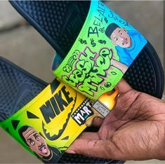 💦 Martin or Fresh Prince of Bel Air? ⬇️Comment below⬇️ _ Customs made by _ Fresh Prince, Custom Sneakers, Custom Shoes, Cute Slides, Nike Slippers, Jordan Shoes Girls, Sneaker Art, Fresh Shoes, Hype Shoes