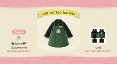 Animal Crossing New Horizons creations & qr codes (Search results for: starbucks) Animal Crossing Coffee, Animal Crossing Guide, Animal Crossing Qr Codes Clothes, Animal Crossing Pocket Camp, Animal Crossing Humor, Starbucks, Worlds Best Boss, Motif Acnl, Ac New Leaf