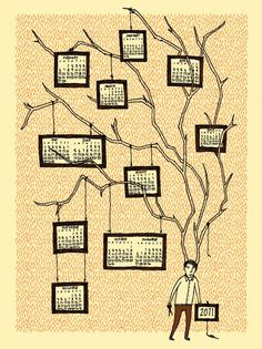 Calendar - incorporated into a design of a tree