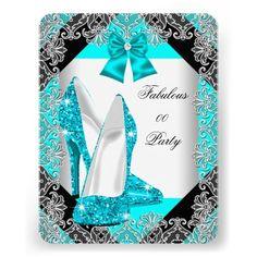 Elegant Glitter Teal Blue Stiletto Birthday Party Custom Invite
