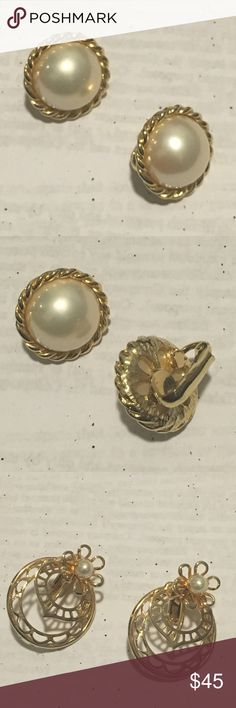 Vintage Clip-on Earrings - Two Pair Gold Clip-on Earrings. One pair with beautiful pearl and twisted Gold Design and the other an intricate Gold Design Jewelry Earrings