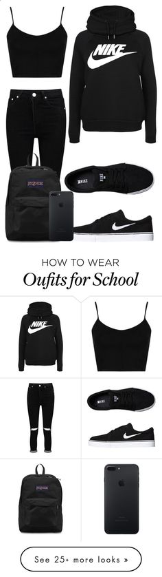 Tuesday School by kellyaguilera on Polyvore featuring Topshop, Boohoo, NIKE, JanSport, casual, school and teen. Teen Nike outfit, best for a workout. Not necessarily something to wear everywhere you go.