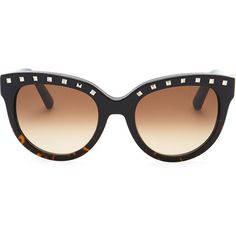 Valentino Rockstud-Brow Sunglasses ($346) ❤ liked on Polyvore featuring accessories, eyewear, sunglasses, glasses, valentino, gradient lens sunglasses, tortoise sunglasses, logo sunglasses, valentino sunglasses and valentino glasses