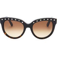 Valentino Rockstud-Brow Sunglasses, Black/Havana