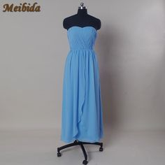 >> Click to Buy << Simple Long Blue Chiffon Bridesmaid Dress 2017 Plus Size A Line Sleeveless Wedding Bridesmaid Dresses Prom Party Gowns Backless  #Affiliate